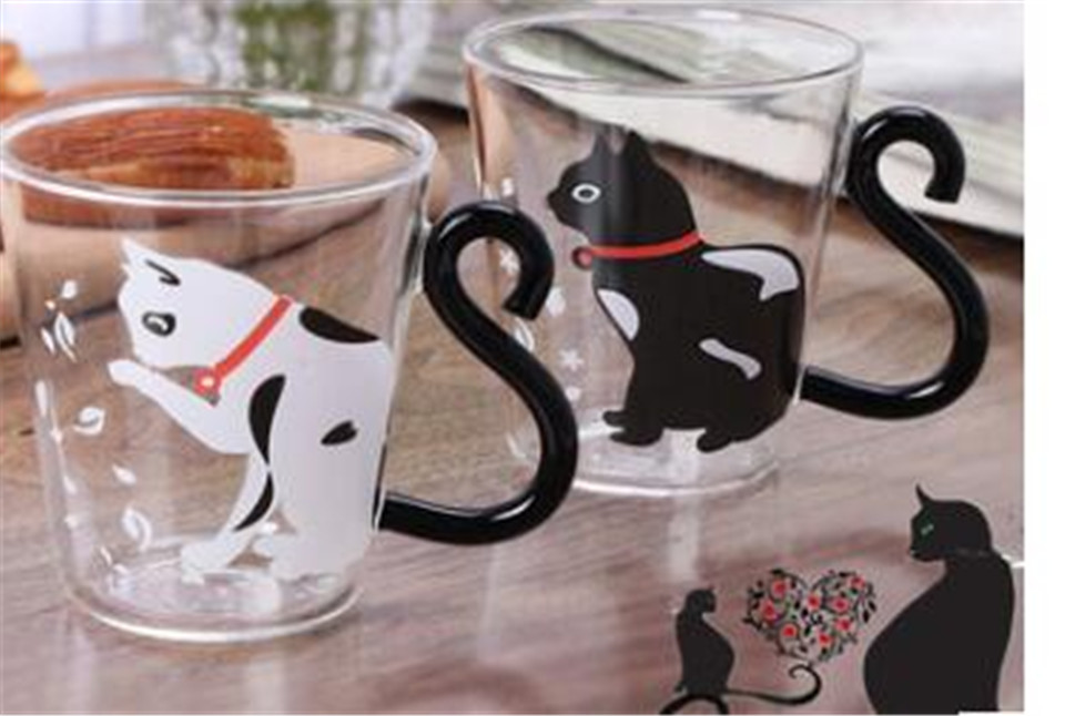 Cartoon Cat Glass Mug