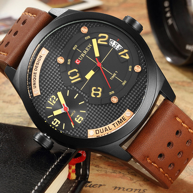 CURREN Date Men Watch Mutil Dial Top Luxury Brand Sport Military Business Male Clock Wrist Quartz Mens Watches Dropship 8252 mens watch top luxury brand fashion hollow clock male casual sport wristwatch men pirate skull style quartz watch reloj homber