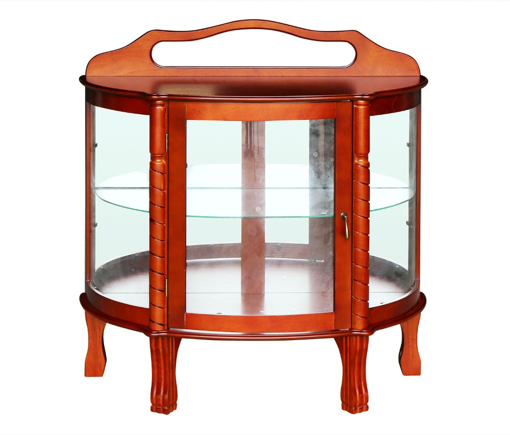HLC Half Round Elegant Hardwood Curio Cabinet, 36 By 15 By 38 Inch, Brown  Storage Cabinet Glass Doors
