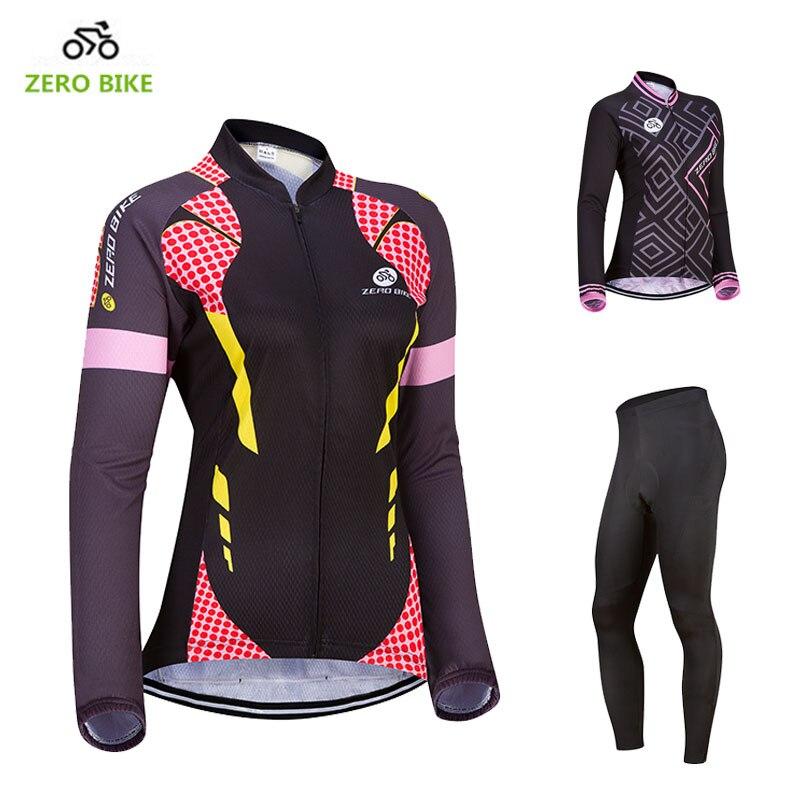 ZEROBIKE 2017USA Size Autumn Winter Women Cycling Clothing Jersey Long Sleeve Bike Sports Tops Pants 4D