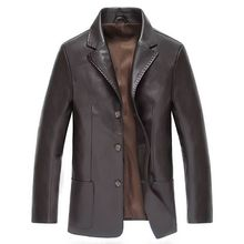 2017 New Men Leather Jacket Spring Autumn Men Soft PU Leather Jacket & Suit Business Casual Coats Male Jaqueta Masculinas Couro