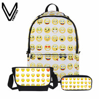 VEEVANV 3 PCS SET Women Combination Children Backpacks School Bookbag Girls Fashion Emoticon Printing Mochila Boys