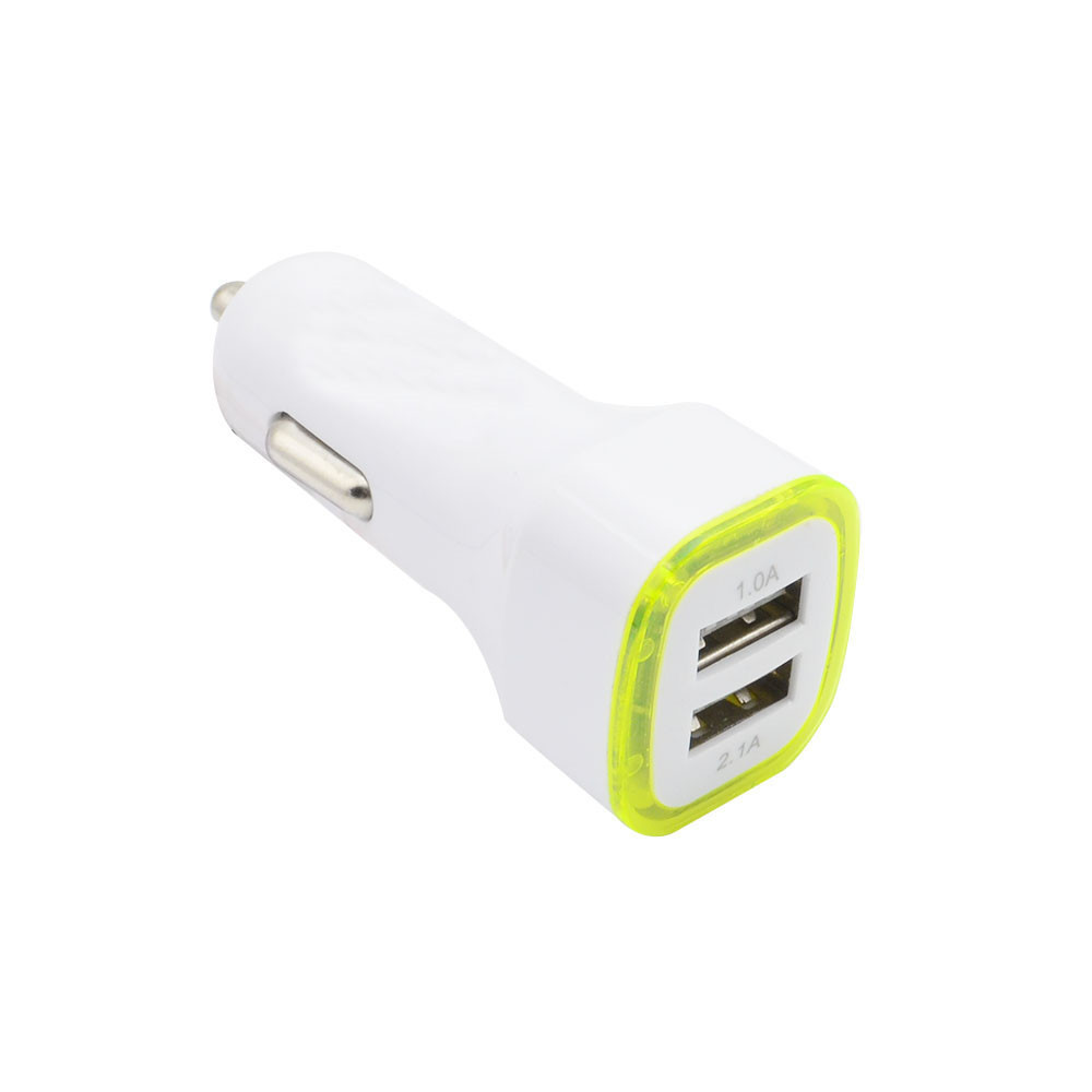Car Chargers Universal Led Light Double 2 Port 2.1a+1a Usb Car Charger For Samsung Apple Cell Phone