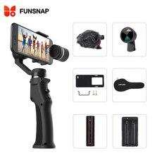 Захват funsnap 3 оси ручной карданный стабилизатор для мобильного телефона xiaomi iphone x XR 8 7 gopro 7 6 5 Экшн камера смартфон