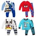 Мультфильм Томас мальчики одежда наборы детская одежда пижамы детские трикотажные печатных pyjama устанавливает малышей одежда костюмы детская одежда 2 шт.