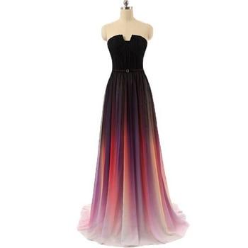 Prom Dress Long Elegant Chiffon Purple Rainbow Fashion Ombre Vestidos De Festa Longo De Luxo Party Gown Graduation Dresses 2019