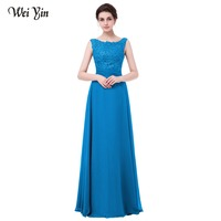 WeiYin Robe de Soiree 2018 New Arrival Long Evening Dress Blue Party Prom Gown Floor Length Blue Formal Evening Dresses