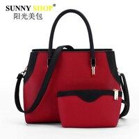 Hot Sale Women Composite Bag Panelled Handbags Shoulder Messenger Bags Pu Leather Crossbody Bags For Women