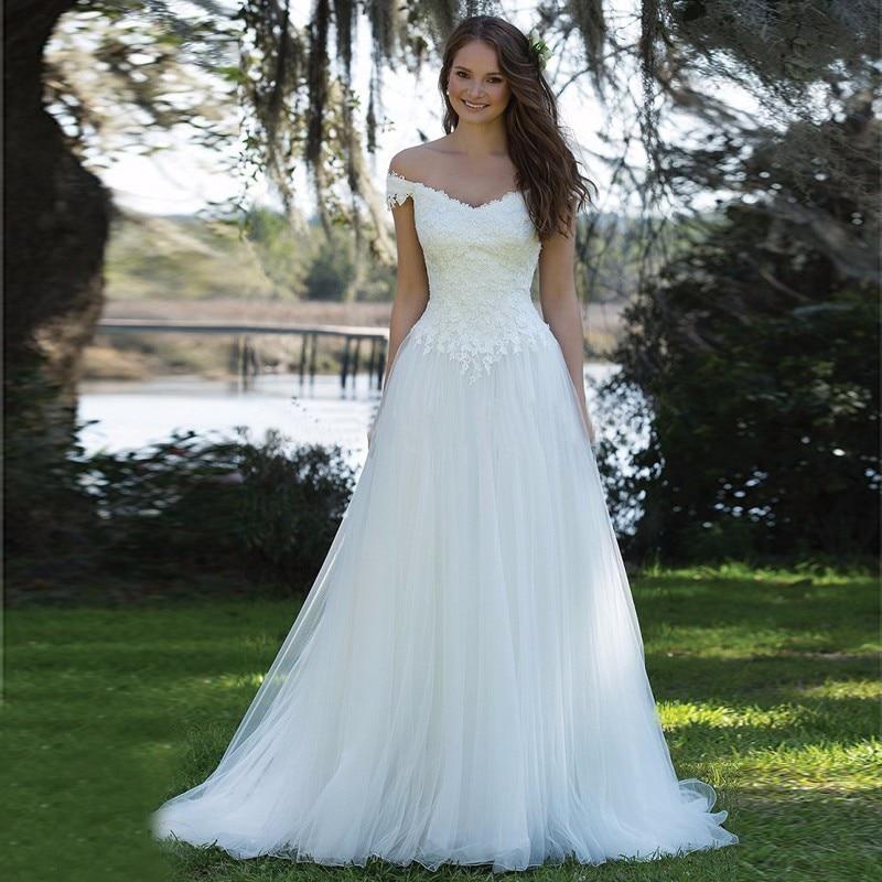 056e9a9729 Simple And Cheap Beach Wedding Dress Long 2017 Vestidos de novia Off ...