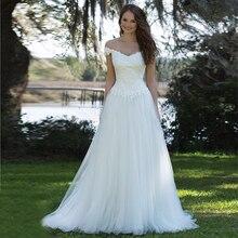 Simple And Cheap Beach Wedding Dress Long 2017 Vestidos de novia Off The Shoulder White Tulle Bridal Gown Vintage Lace Appliques