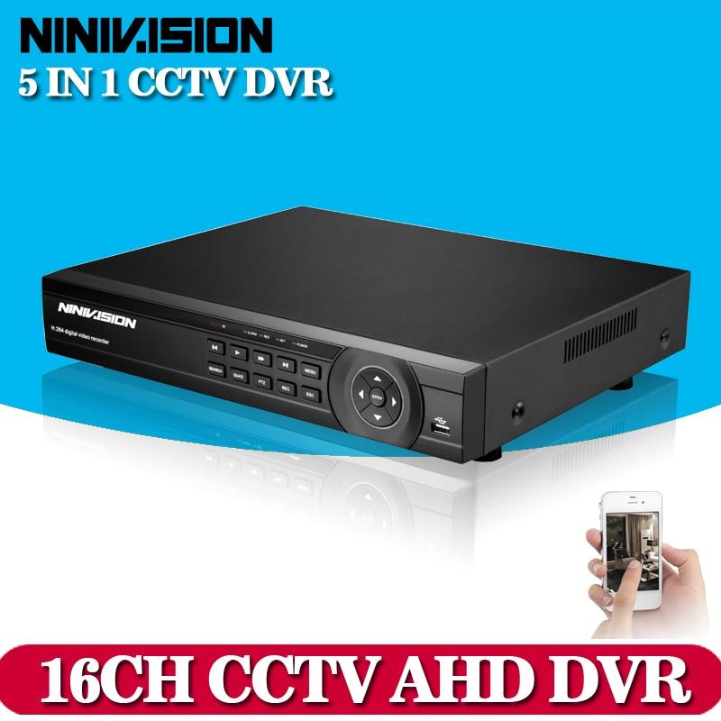 NINIVISION CCTV DVR 16Ch Digital Video Recorder AHD 16 Channel 1080P Hybrid Home Security DVR 2.0MP HDMI Output Onvif P2P NO HDD