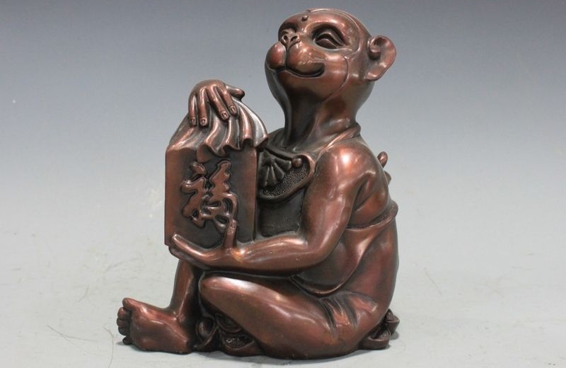 Chinese Red Bronze Copper Home Feng Shui Attract Wealth Monkey Hold Seal StatueChinese Red Bronze Copper Home Feng Shui Attract Wealth Monkey Hold Seal Statue