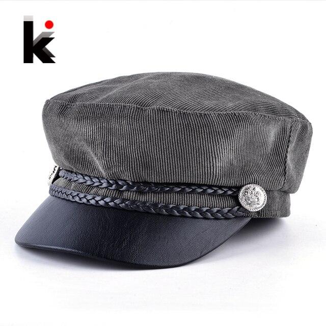 990b5f4e3e3 Women Corduroy Military Cap Spring Autumn Newsboy Cap Lady Twist Braiding  Button Flat Beret Hat Fashion PU Visor Octagonal Boina
