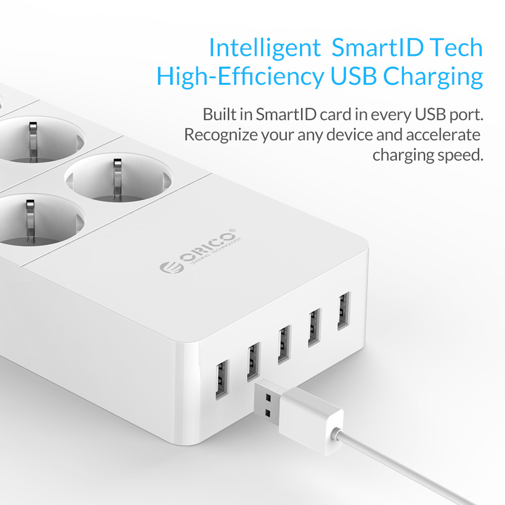cheapest ORICO Power Strip 4 6 8 Outlet Surge Protector Extension Sockets with 5x2 4A USB Super Charger Ports EU US UK Plug