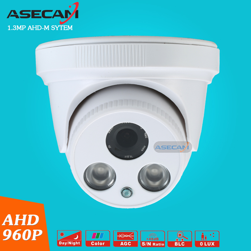 New AHD 960P CCTV Camera Indoor Plastic White Dome 2LED Array Infrared Night Vision Security Surveillance ahdm System  free shipping evtevision 720p 2 8 12mm vari focal lens ahd camera indoor plastic dome 15m night vision cctv security camera