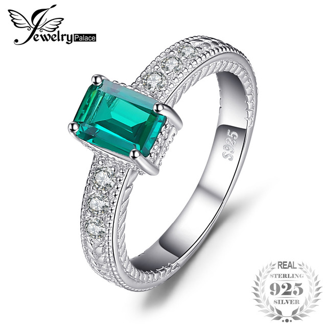 JewelryPalace Emerald Cut 0.9ct Nano Russian Simulated Emerald Statement Ring 92