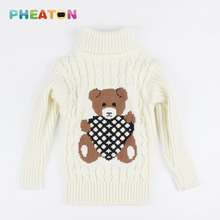 Cute Bear Pullover Knitted Girls Sweaters Warm Girls Jumper Children Turtleneck Boy Sweater Children Outerwear