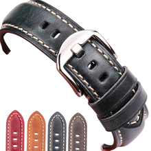 цены HENGRC Brand Genuine Leather Watchband Bracelet 20mm 22mm 24mm 26mm Blue Green Red Brown Watch Band Strap Silver Screw In Buckle