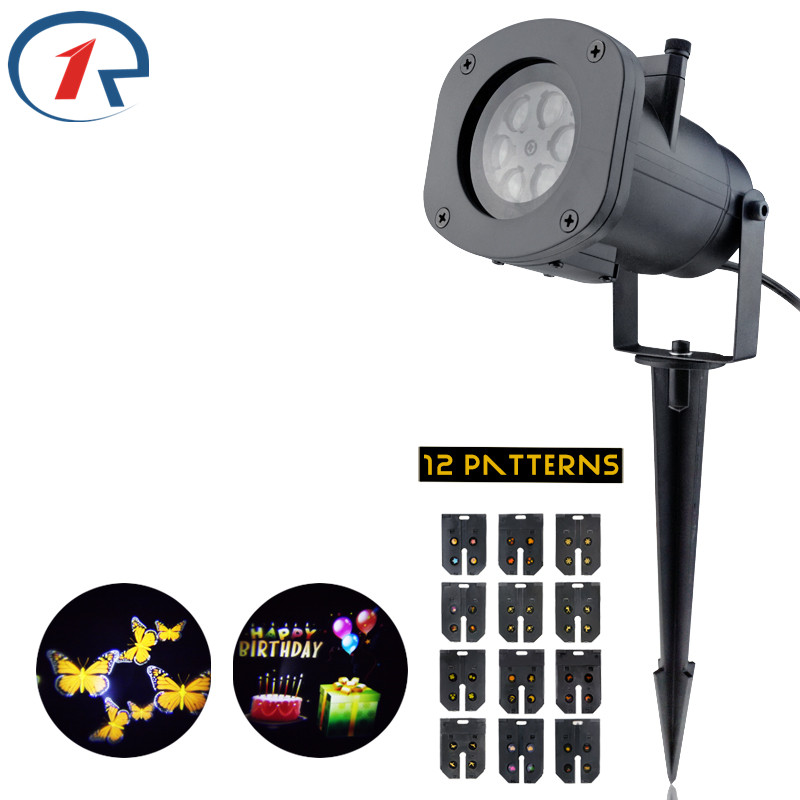 ZjRight 12Pattern colorful projection LED lights Waterproof outdoor stage light Birthday Christmas Halloween dj bar effect light
