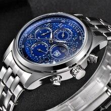 BENYAR Top Brand Luxury Men's Full Steel Quartz Chronograph Men Outdoor Sports M
