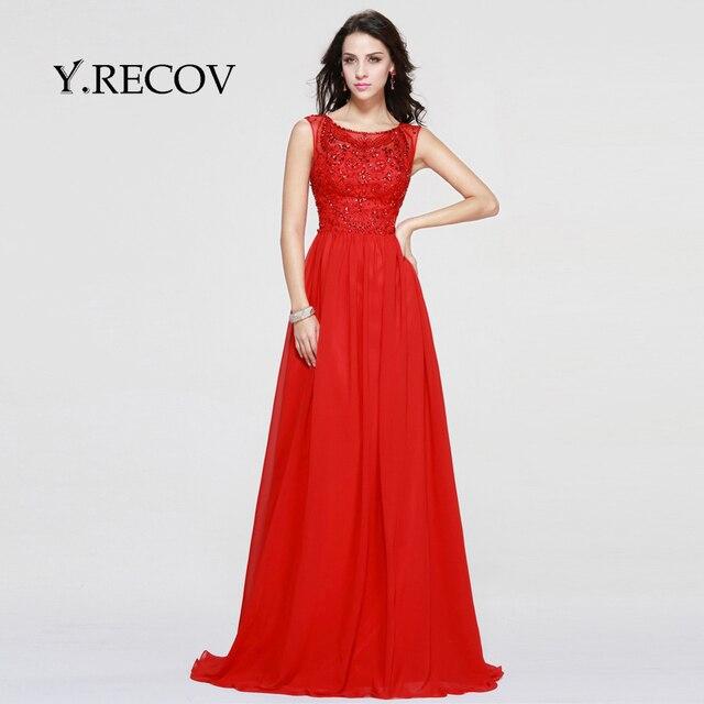 61857f94b Vestidos largos De Compromiso YD2320 A-line Scoop Con Cuentas Blusa Vestido  Rojo de Noche