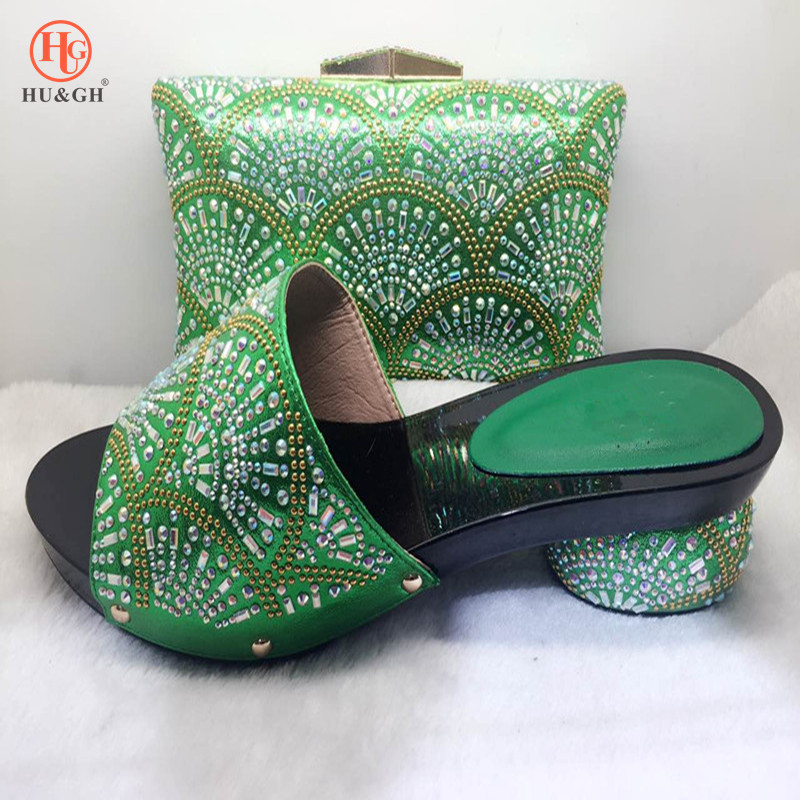 2018 New Green Italian Wedding shoes with matching bag Bride Fashion shoes and purse set 5.3cm heels Pumps African Shoe and bag