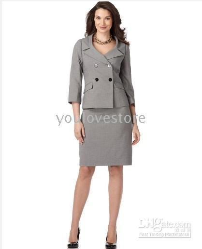 Women's Business Suits Gray Women Skirt Suit Double Breasted Women ...
