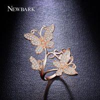 NEWBARK Elegantie Mooie Vlinder Vinger Ring Verharde CZ Stone Party Dubbele Vlinders Accessoires Sieraden Vrouw Beste Geschenken