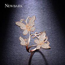 Newbark elegante danza de la mariposa anillos de boda del grado superior tiny circonita anillos de compromiso para las mujeres accesorios de la joyería