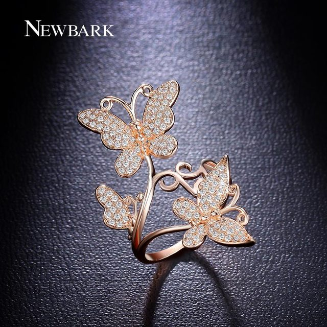 NEWBARK Stylish Butterfly Dance Wedding Rings Top Grade Tiny Cubic Zirconia  Engagement Rings For Women Jewelry Accessories