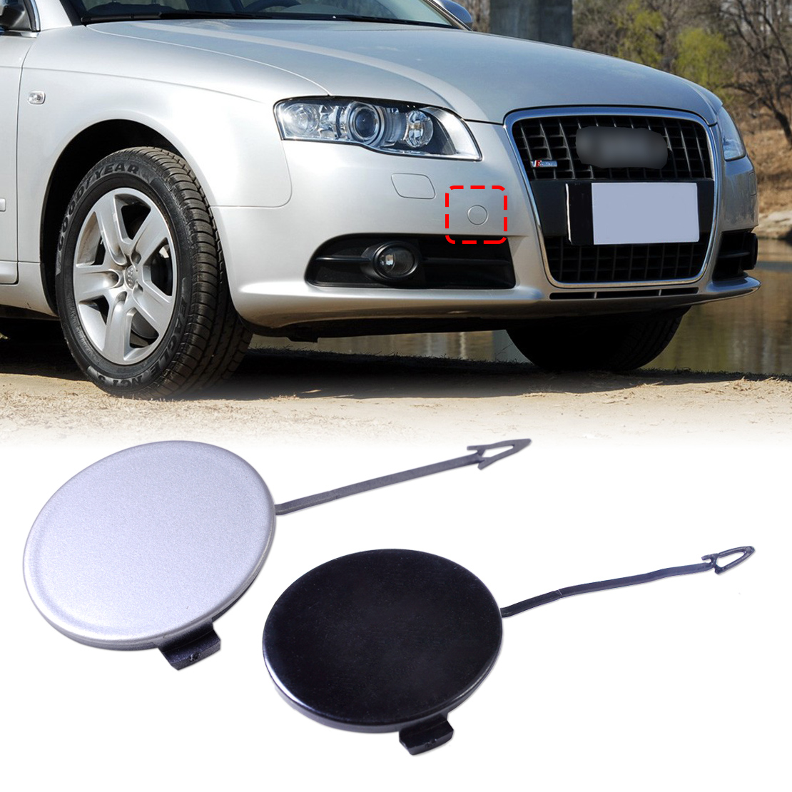 New Plastic Front Bumper Eye Towing Bar Cover Tow Hook Cap 8E0807241C for Audi A4 Quattro S4 B7 2005 2006 2007 2008 8E0 807 241C