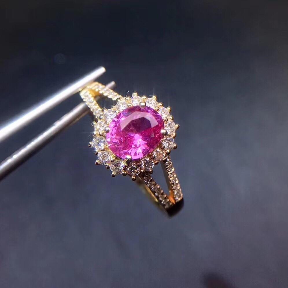 Real Pure 18 K Gold Jewelry 100% Natural Unheat 1.13ct Pink Padparadscha Sapphire Gemstones Sapphire Diamonds Female Rings