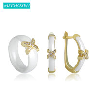 MECHOSEN Jewelry Sets Earrings Rings White Black Ceramic Copper Ohrringe AAA Zircon Crystal Letter Ring Women