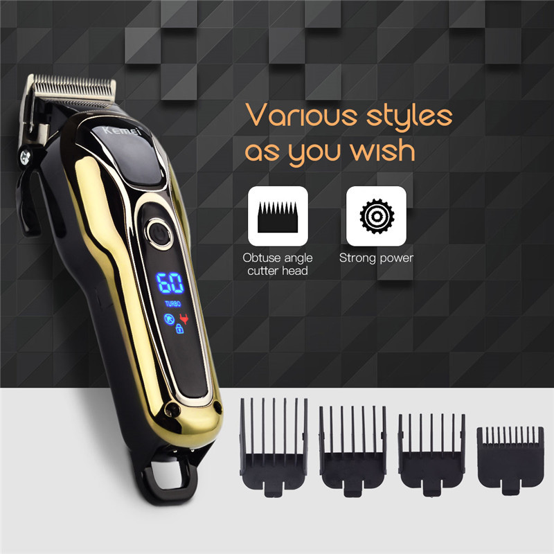 110-240V Kemei Rechargeable Hair Clipper Men Electric Shaver Hair Trimmer Cutting Machine Haircut LCD Digital Cutting Trimmer kemei 5 in 1 electric hair clipper men s electric trimmer professional hair cutting machine nose haircut shaver razor remover