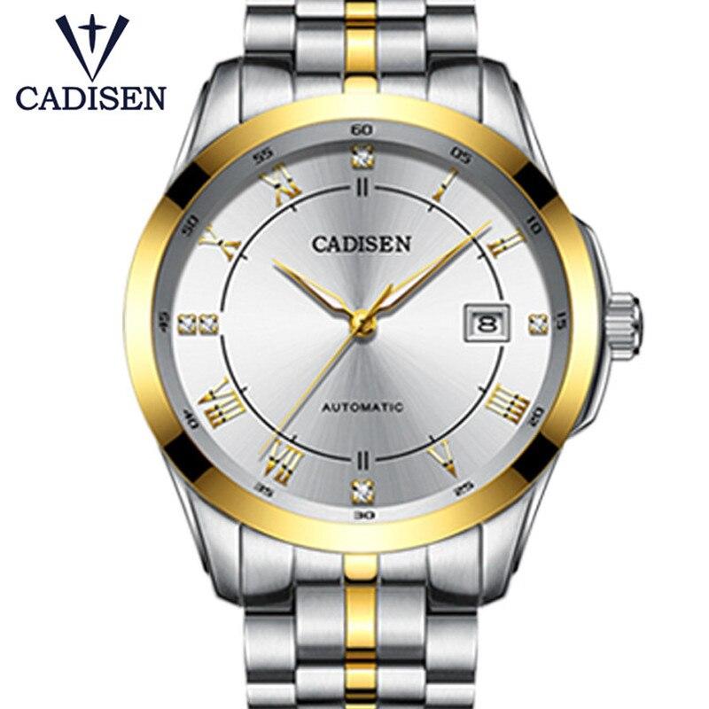 CADISEN Top marque hommes affaires montre mécanique automatique Date étanche horloge hommes en acier inoxydable montre-bracelet Relogio Masculino