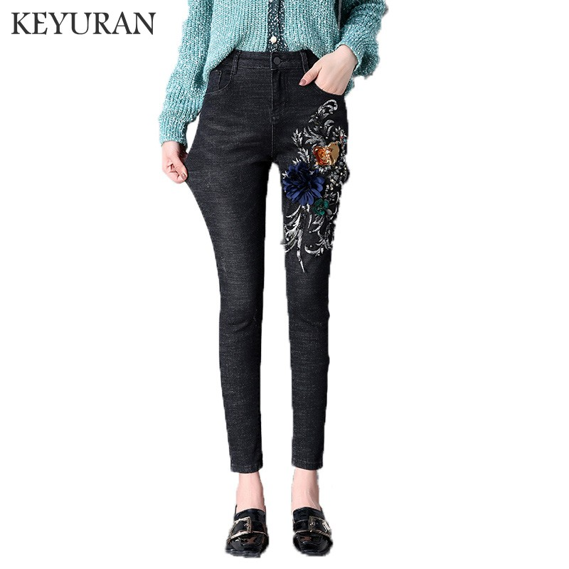 2018 Autumn Ripped Beaded Embroidery Flowers Women Sequin   Jeans   Female elastic   Jeans   woman Denim skinny pencil pants vestido