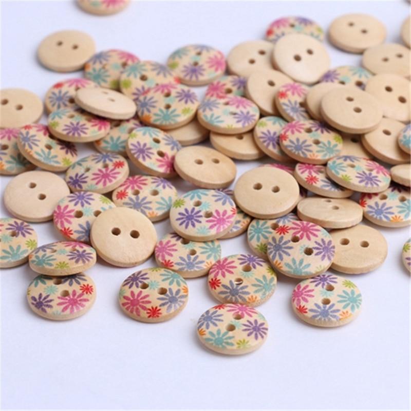 Heart Wood Sewing Button Flat Two Holes Children Cute Heart-shaped 19mm 100pcs