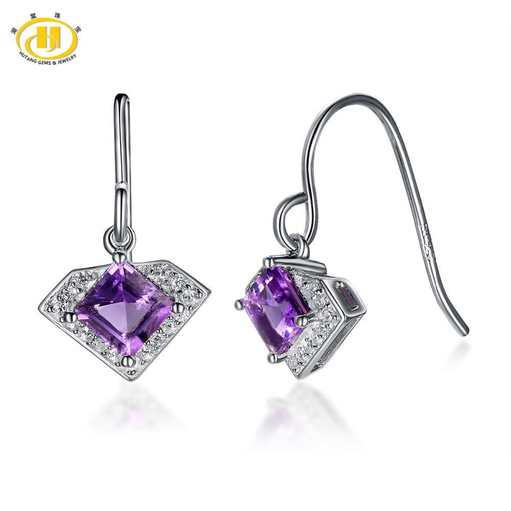 Hutang 1.48ct Natural Amethyst Drop Earring Solid 925 Sterling Silver Gemstone Fine Jewelry Fashion Style Women's Gift Earring