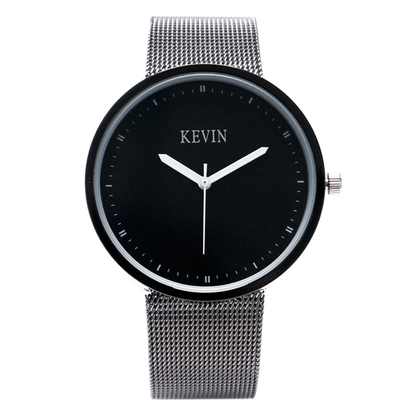 KEVIN Mesh Stainless Steel Band Strap Women Men Cool Sport Quartz HOT Ladies Casual Black/White Dial Wrist Watch geneva men s large dial cool quartz stainless steel business wrist watch