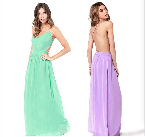 Spaghetti Strap Backless Pleated Maxi Long Party Beach Dress 3
