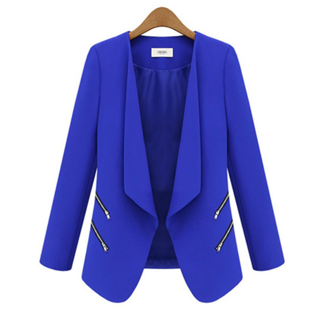Women Fashion Long Sleeve Solid Zipper Pockets No Casual Open Front, Slim Autumn, Spring Commuter Blazer(China)