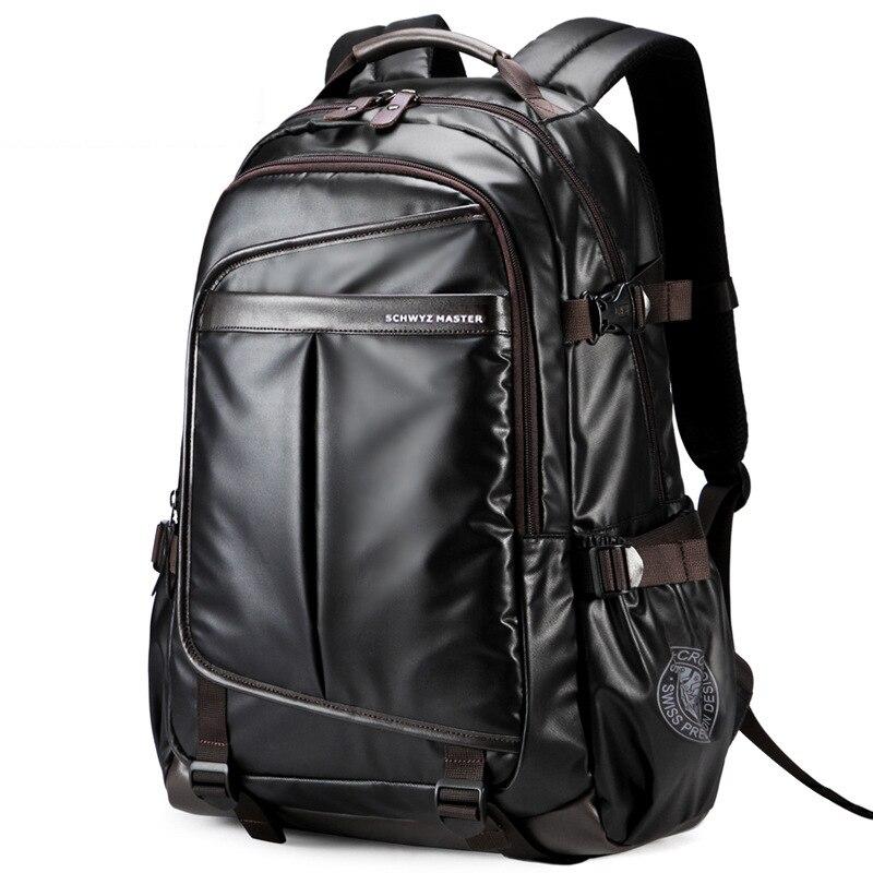 Swiss leather men business School Backpack For Boys big Waterproof 15 6 Laptop Backpack gear Men