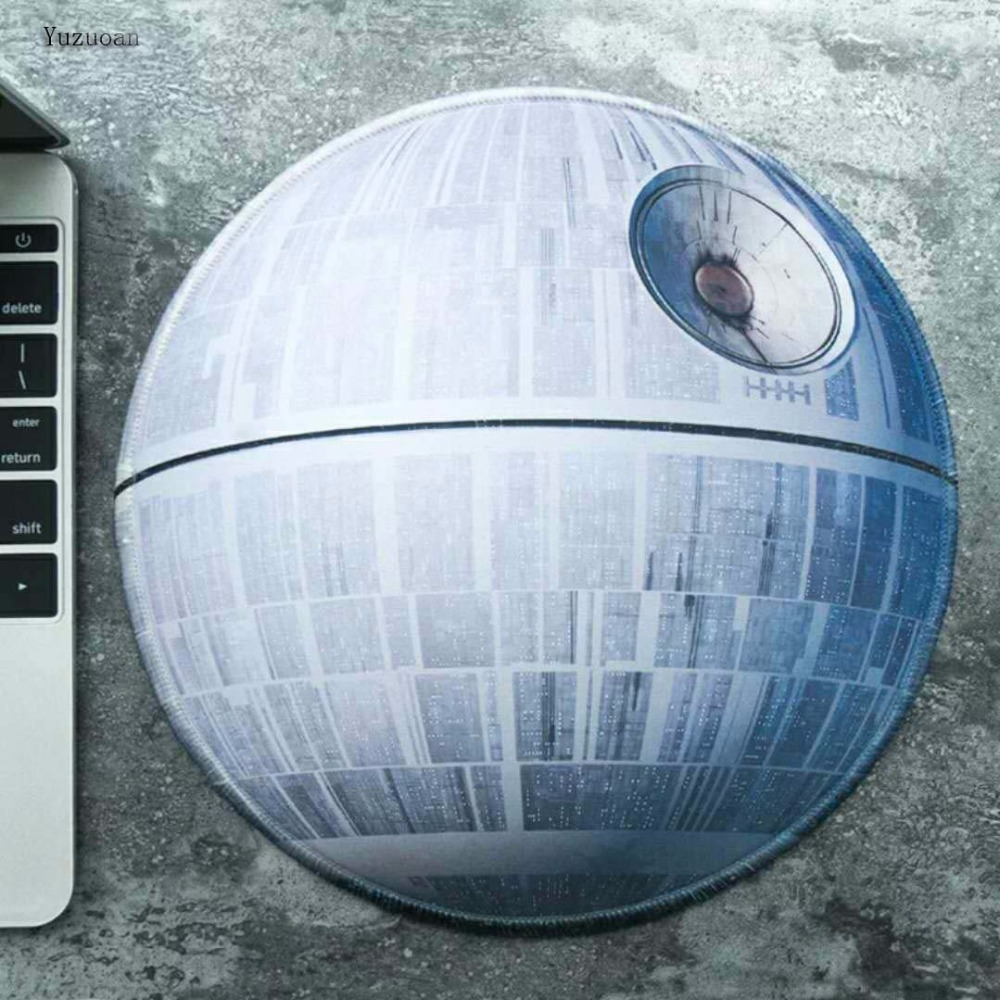 Yuzuoan Star Wars Gaming Mouse Pad Creative Movie Periphery Death Star Thickening Game Table Round Mat Size 22X22CM 20X20CM