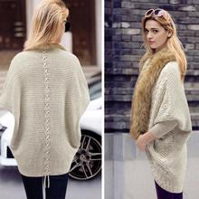 2017 Autumn and Winter New Large Size Women's Coats Fur Collar Bat Sleeve Knit Cardigan Sweater Coat Female