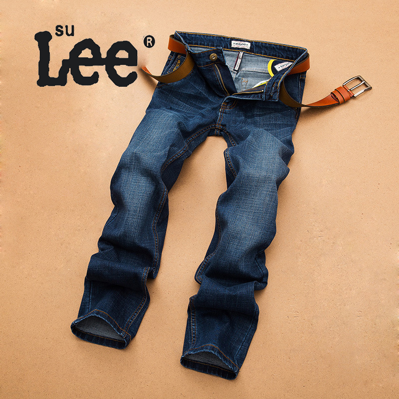 Men Straight Mid Waist Jeans Men's Stretch Cotton Denim Trousers Menswear Autumn Winter Quality Jeans Pants RH-2066