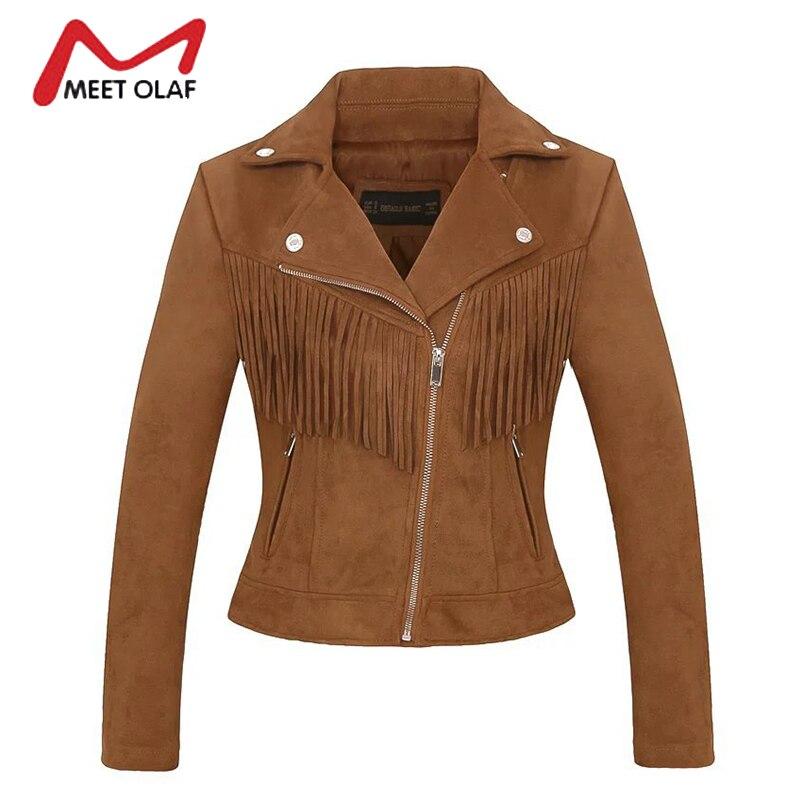 2017 Women Suede Leather Jackets Fashion Tassels Side Zipper Female Solid Faux Leather Coats Ladies Moto Biker Overcoat Y1172