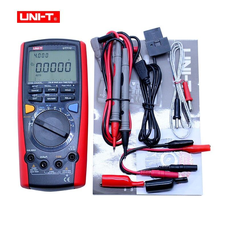 Digital MultiMeter UNI T UT71C AC DC Volt Ampere Ohm Capacitance Temp Meter  0 025