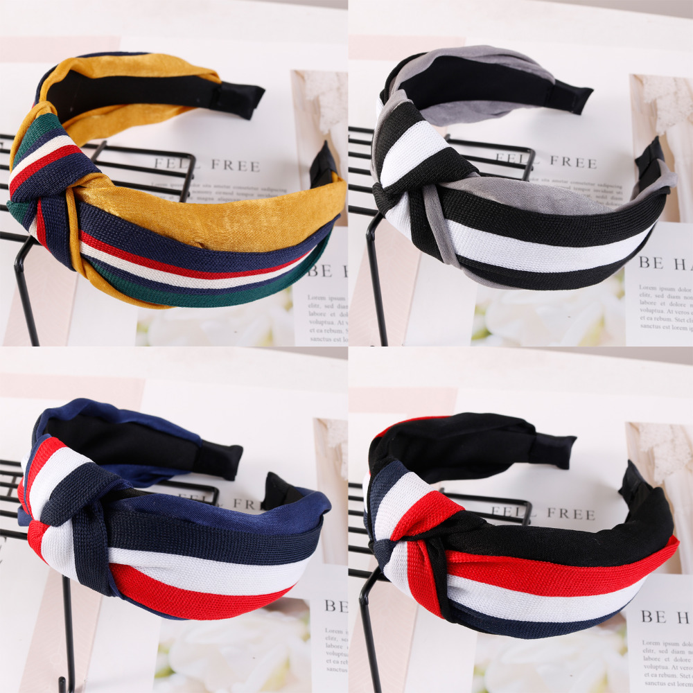 Fashion Autumn Winter Hairband For Women Bohemia Hair Band Stirped Wide Side Headband Knot Hair Accessories For Adult