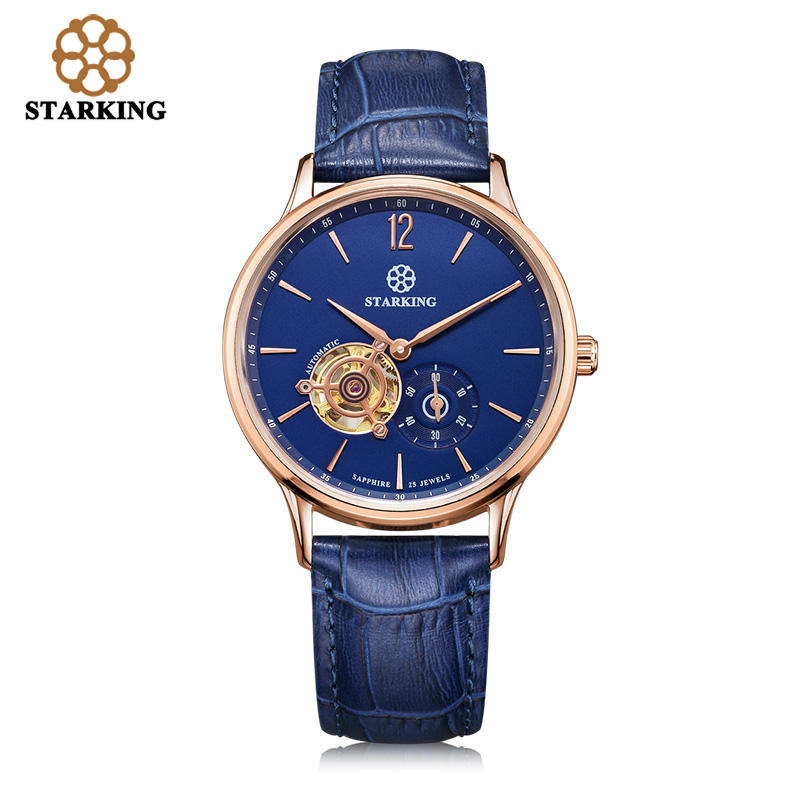 STARKING Men watch sale Skeleton Tourbillon Analog Automatic watches Genuine Leather Blue Male Mechanical Watch Top Brand Clock ailang brand men automatic self wind watches leather skeleton tourbillon mechanical clock male rose gold shell watch new