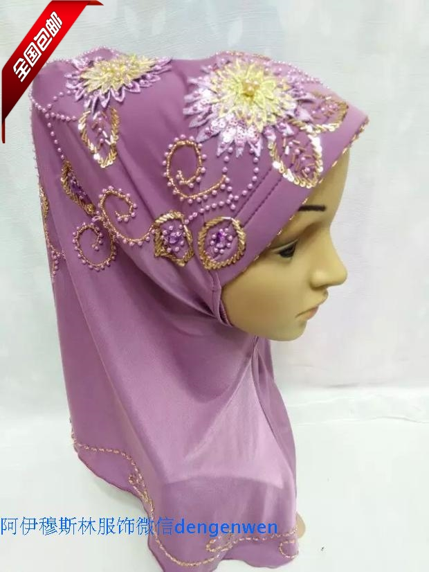 The autumn of October the new muslim font b hijab b font scarf Handmade Beaded Flower